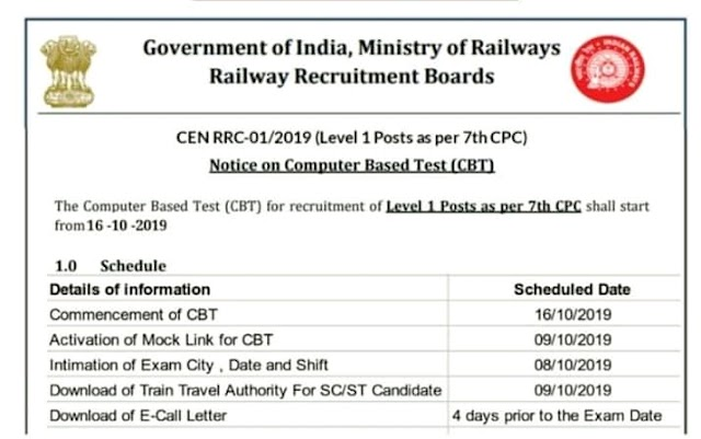 RRB GROUP D Admit Card Out 2019 and  Exam date