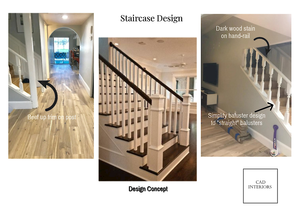 CAD Interiors online interior e-design virtual design decorating mood board stairwell staircase modern transitional wood shaker posts