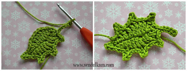 Crochet holly flower applique - free crochet pattern by VendulkaM