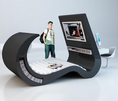 decoración de recamara futurista
