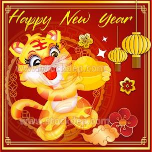 Vector bìa lịch con hổ vàng 2022