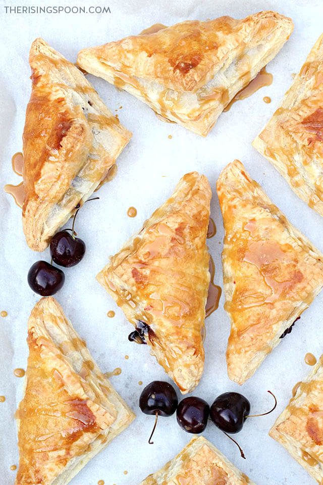 Easy Cherry Turnovers with Puff Pastry & Lemon Glaze