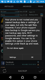 warning not rooted - Easy Backup & Restore