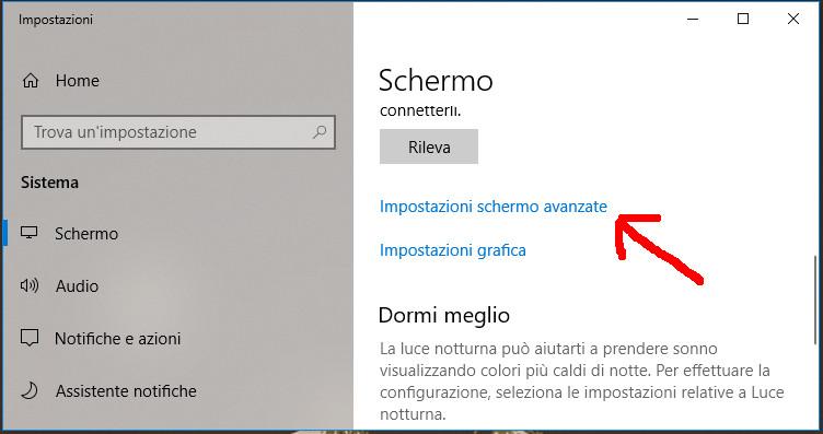 Impostazioni dello schermo avanzate in Windows 10