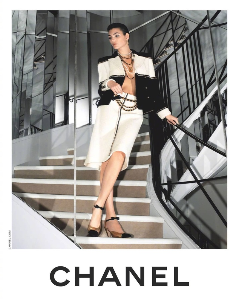Model Vittoria Ceretti poses for Chanel pre-fall 2020 campaign.