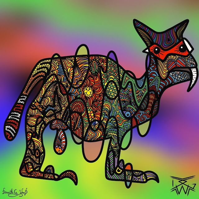 art of a very colorful creature made of lines and shapes