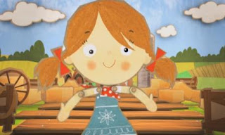 A little puppet girl sings Number 10 Hoedown on a farm. Sesame Street Count On Elmo
