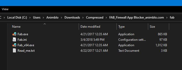 Folder hasil Ekstrak FAB