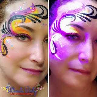 UV Glow Parties Face Paint and UV Neon Glitter Tattoos