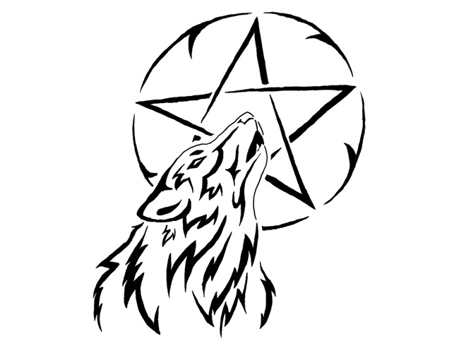 Wolf head and star tattoo stencil