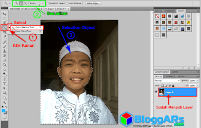 Cara mengilangkan background di photoshop