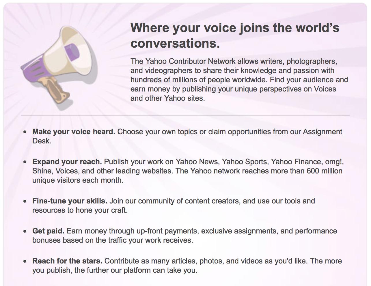 Guadagnare con Yahoo Contributor Network