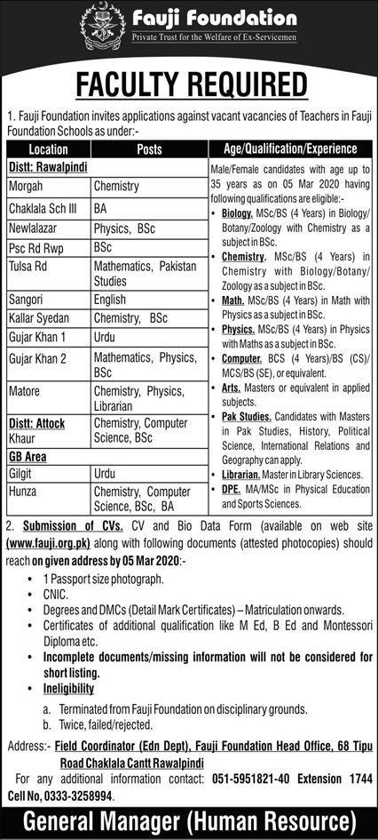 Teaching Jobs in Fauji Foundation for Males & Females in Different Cities