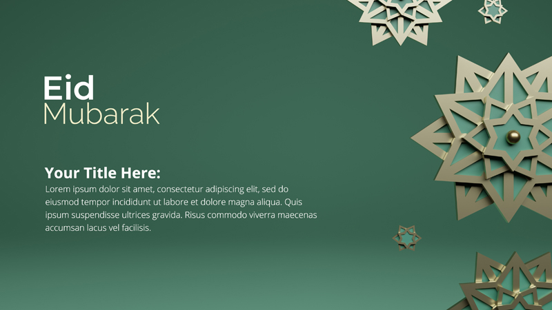 3D Rendering Concept Eid Mubarak With Abstract Star