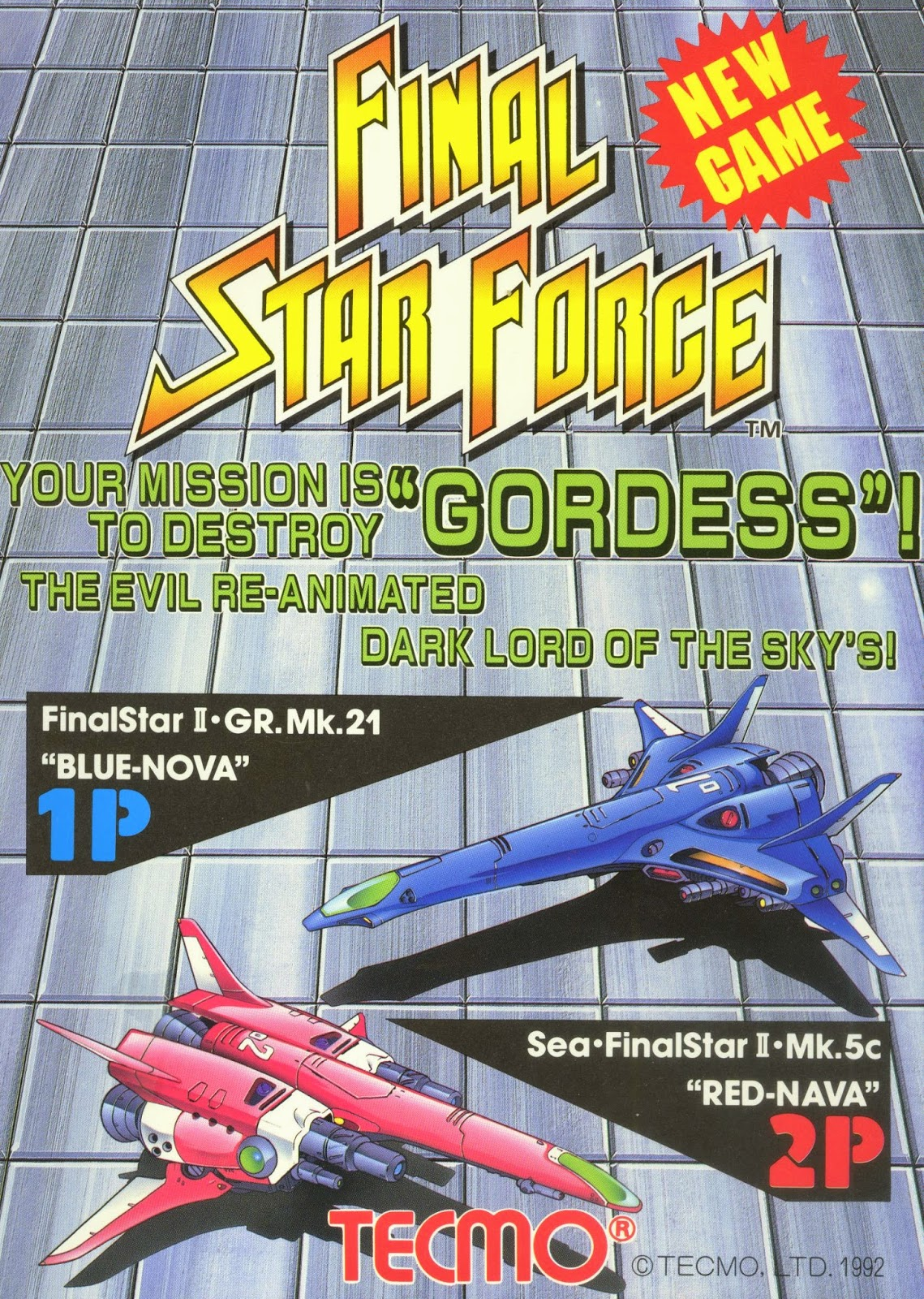 Final Star Force+arcade+game+retro+portable+shoot'em up+art+flyer