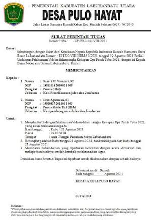 Contoh Surat Perjalanan Dinas Kepala Desa Terbaru Doc