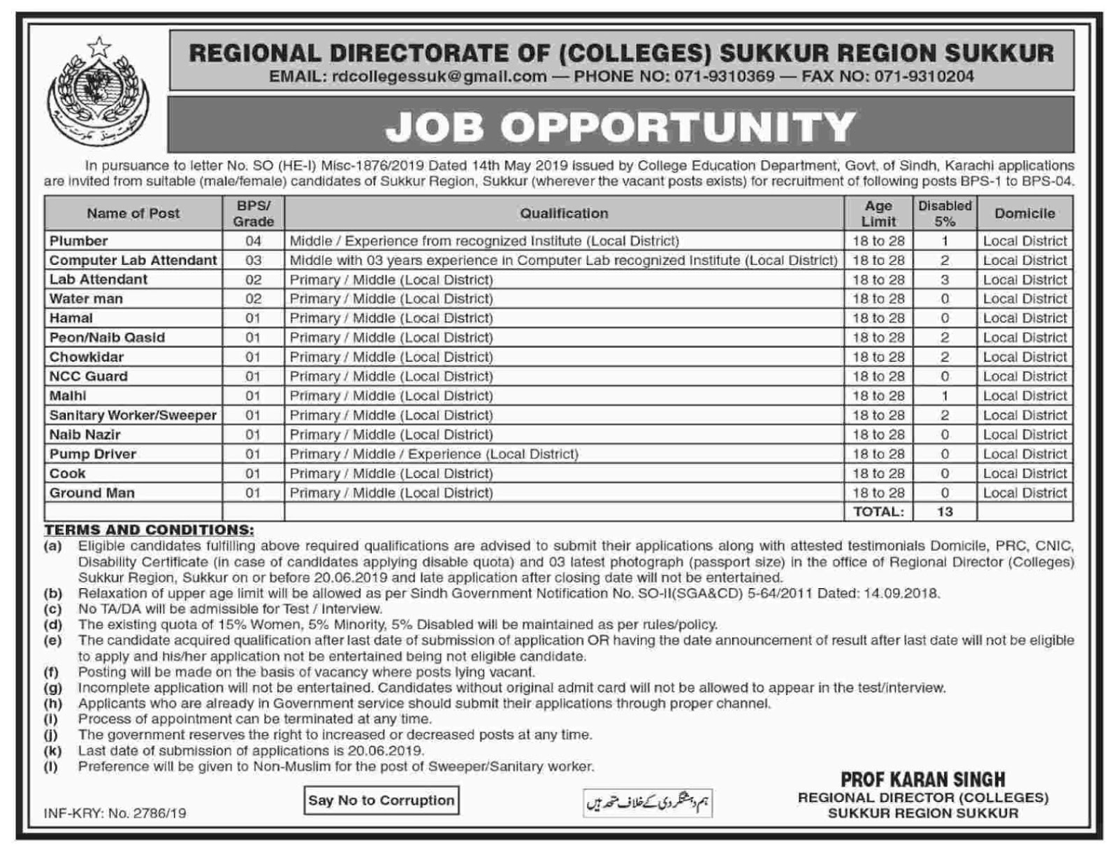Regional Director Colleges, Sukkur Sindh Jobs 2019 - Sindh Jobs