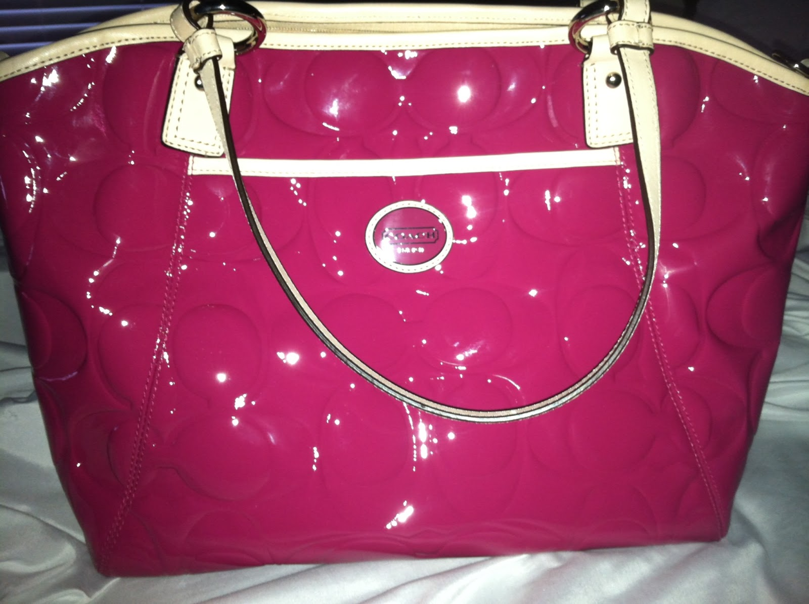 5ebf53de0c Fabulously Chic  Review  Coach Patent Leather Tote In Hot Pink