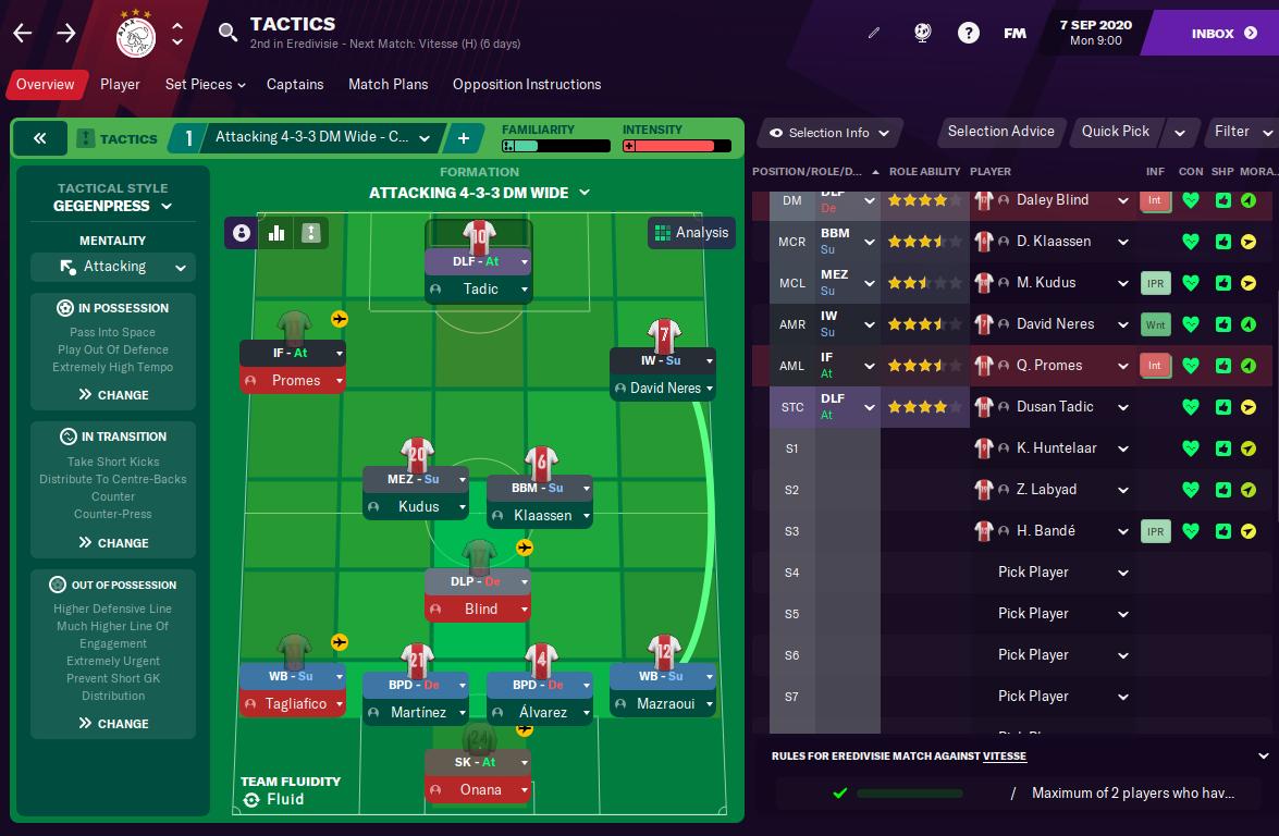 FM21 Ajax Formation Tactic