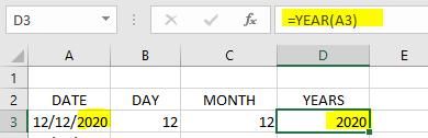 Rumus YEAR Excel