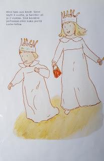 Kuvituskuva: Kaksi tyttöä on pukeutunut Lucia-mekkoihin
