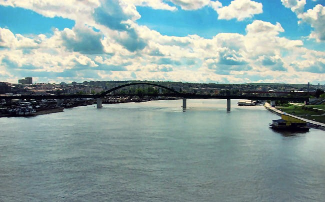 Belgrade city Sava river bridge