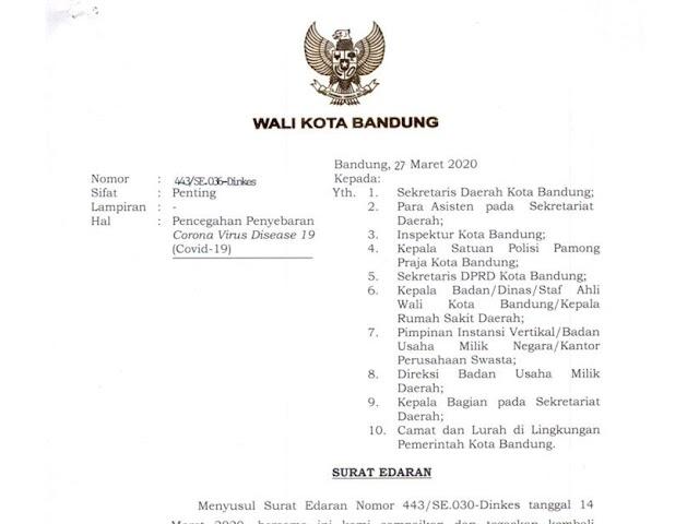 Ini 16 Poin Isi Surat Edaran Terbaru Wali Kota Bandung Terkait Pandemi Covid-19