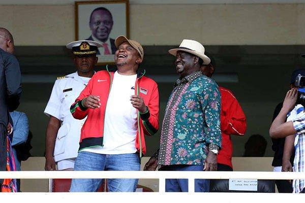 President Uhuru Kenyatta and Raila Odinga at Kasarani stadium.