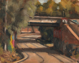 Oil painting of tram tracks winding beneath a brick and concrete rail bridge.