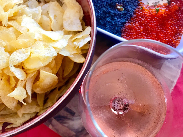 4-Layer Caviar Dip with Potato Chips and Champagne