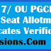 OUCET 2017/ OU PGCET 2017 2nd Phase Seat Allotment list,certificates verification dates @ ouadmissions.com