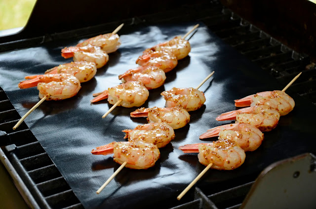 Lavender Honey Mustard Shrimp on the grill