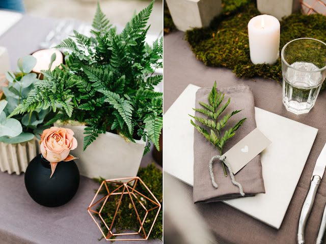 Mech i paprocie jako ozdoba stołów weselnych