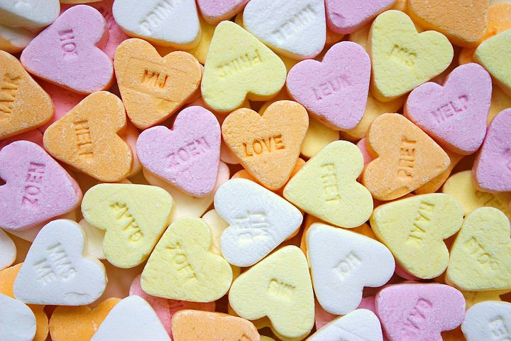 Romantic Love Messages on candy