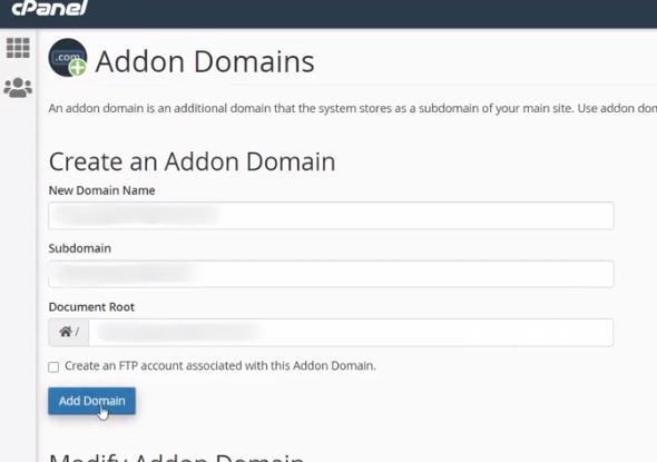 choose addon domains for wordpress