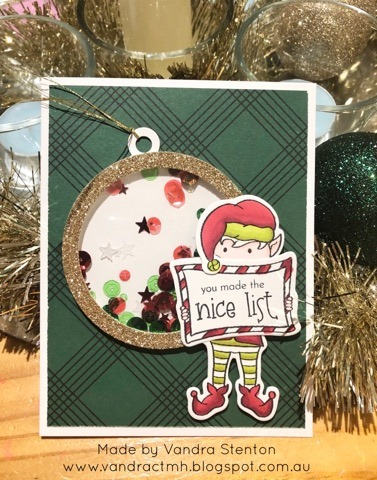 #CTMHVandra, Christmas, #ctmhcedarandpine, #ctmhhollyjolly, Gold, shaker card, Sequins, Colour Dare Challenge, color dare, TicTacToe,