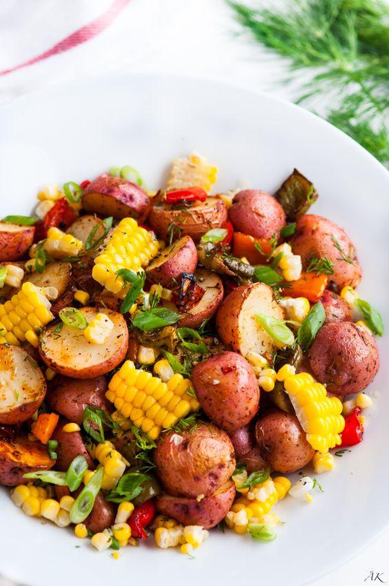 SOUTHWEST ROASTED POTATO SALAD #southwest #roastedpotato #potatoes #salad #saladrecipes #veganrecipes #veggies #vegetarianrecipes #vegetablerecipes