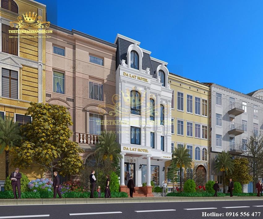 Hình ảnh: Thiết kế kiến trúc đẹp của khách sạn tân cổ điển mặt tiền 10m