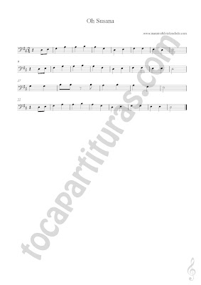 7 Partitura de Oh Susana Popular en Clave de Fa para Violonchelo (Partituras de otros instrumentos aquí) O Susana Bass Clef Sheet Music & Vídeo tutorial Como tocar Amazing Grace en Violonchelo