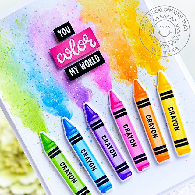 Sunny Studio Stamps: Color My World Teacher Appreciation Crayon Themed Appreciation Cards by Kay Miller