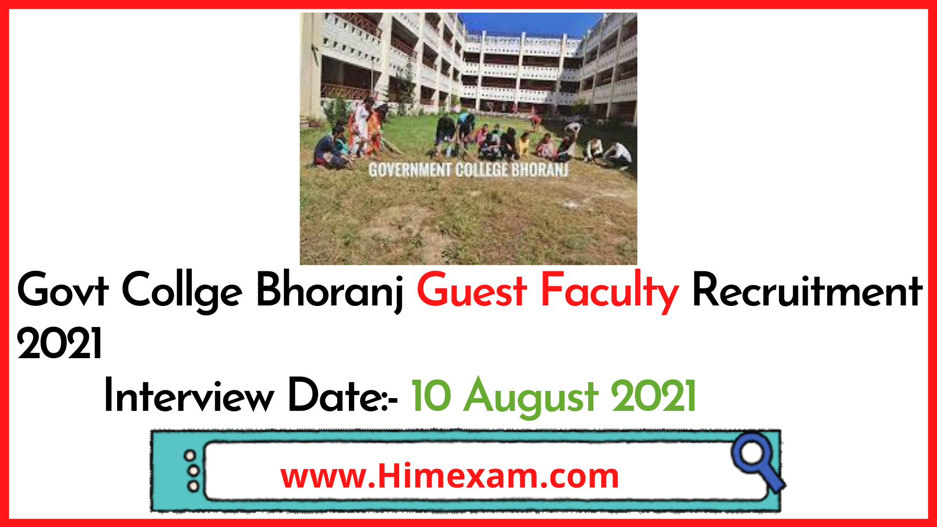 Govt Collge Bhoranj Guest Faculty Recruitment 2021