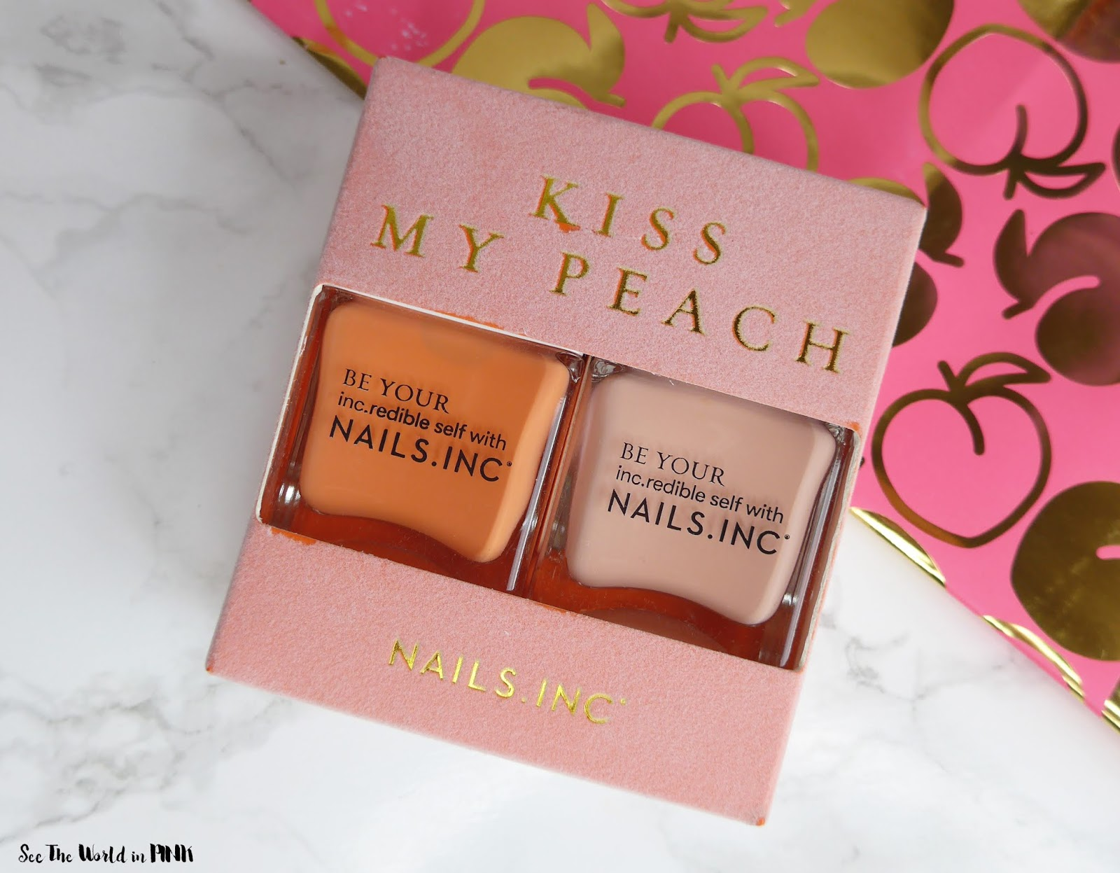Manicure Monday - Nails Inc Kiss My Peach Duo Nail Set