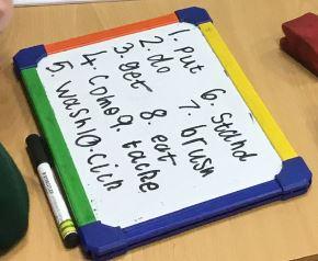 Oppijan oma tussitaulu, mihin on kirjoitettuna 10 imperetiivista sanaa, esim. put, do, get.