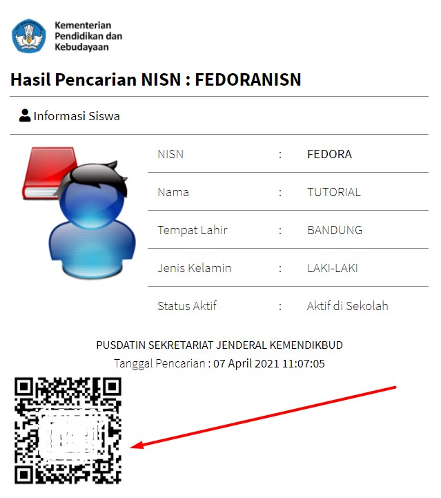 QR code untuk data NISN Kemdikbud