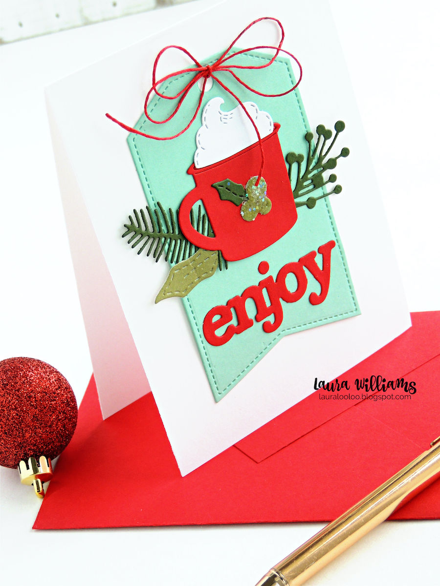 Click to see simple die cutting ideas for holiday and winter card making projects and paper crafts for Christmas. This cozy card with a cup of cocoa or coffee is fun to make with dies from Impression Obsession. Stop by my blog for lots of ideas using stamps and dies for holiday crafts!