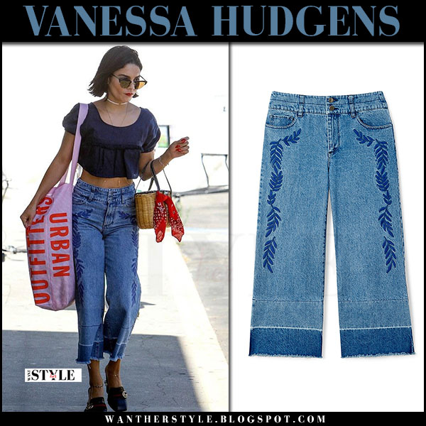 Vanessa Hudgens in crop top and cropped denim pants rebecca minkoff what she wore june 14 2017