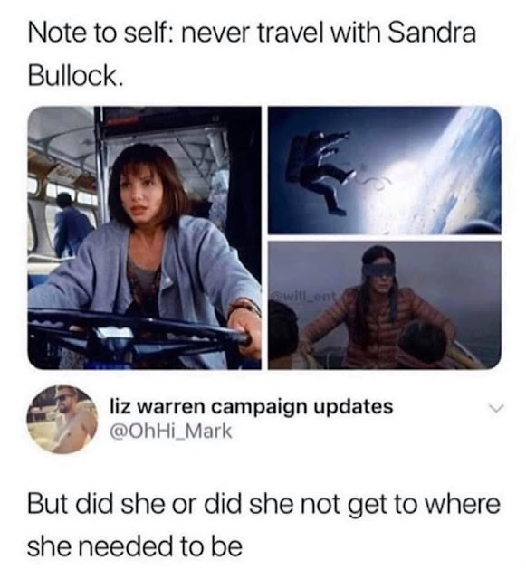 never travel with sandra bullock - Note to self never travel with Sandra Bullock. liz warren campaign updates But did she or did she not get to where she needed to be