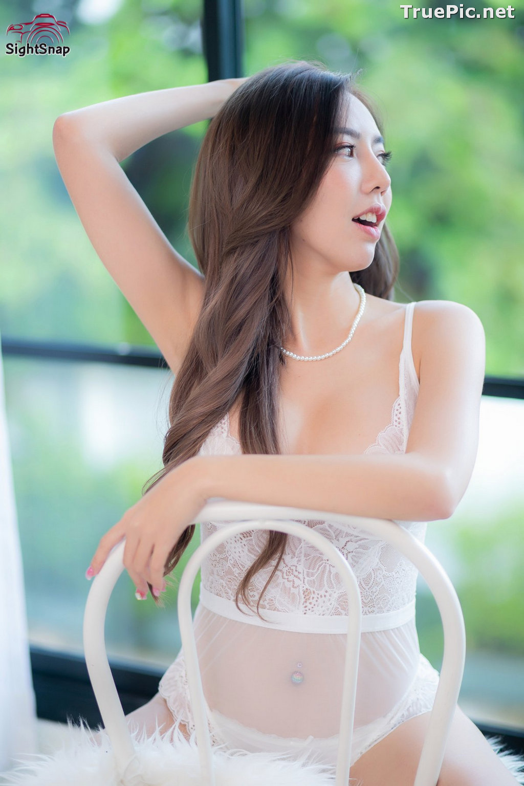 Image Thailand Sexy Model – Champ Phawida - Transparent White Lingerie - TruePic.net - Picture-8