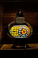 Handicrafted Hanging Lantern with LED lamp Light Colorful Mosaic Glass for Home Decoration Indoor and Outdoor Festival