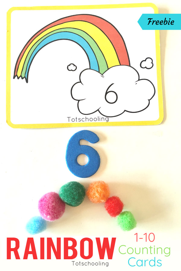 FREE printable Rainbow themed counting cards for toddlers and preschoolers, perfect for a Spring or St. Patrick's Day math activity. Hands-on activity to develop number recognition and one-to-one correspondence.